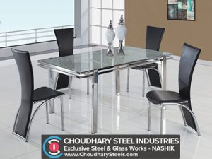 SS Dining Glass Table Nashik